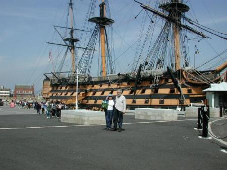 Larry and Wanda with HMS Victory